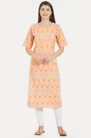 Multi Color Flax Cotton Stitched Kurti - VF-KU-223