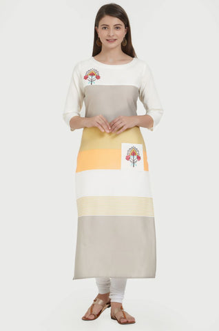Multi Color Cotton Stitched Kurti - VF-KU-224