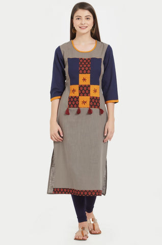 Multi Color Slub Cotton Stitched Kurti - VF-KU-226