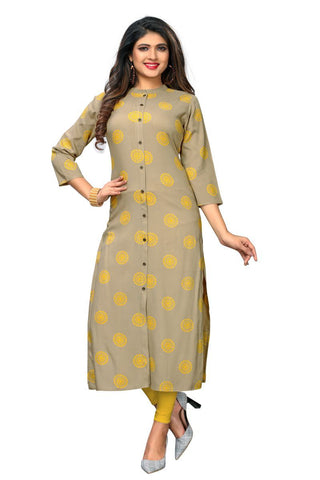 Beige Color Rayon Stitched Kurti  - VF-KU-229