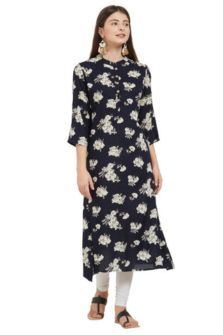 Black Color Rayon Stitched Kurti - VF-KU-230