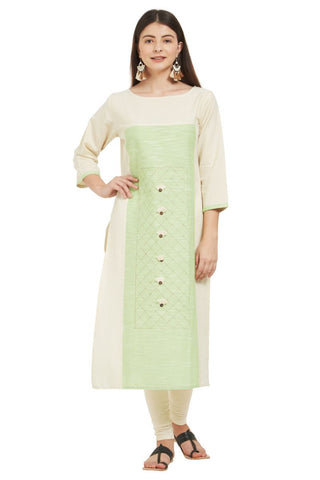 White And Pista Color Flax Cotton Stitched Kurti - VF-KU-231