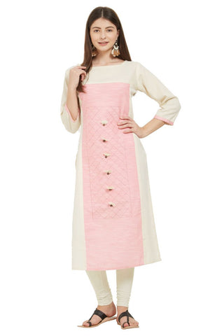 White And Pink Color Flax Cotton Stitched Kurti - VF-KU-232