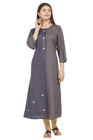 Grey Color Rayon Stitched Kurti - VF-KU-233