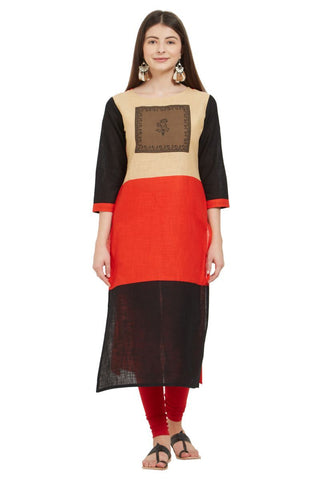 Multi  Color Slub Cotton Stitched Kurti - VF-KU-235