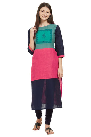 Multi  Color Slub Cotton Stitched Kurti - VF-KU-236