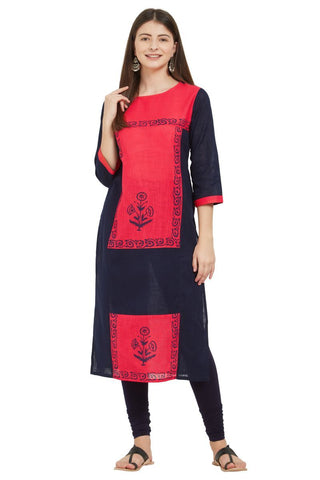Multi  Color Slub Cotton Stitched Kurti - VF-KU-237