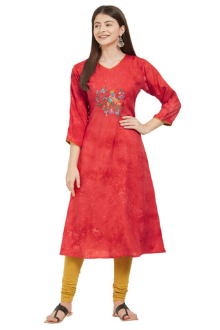Red Color Rayon Stitched Kurti - VF-KU-238