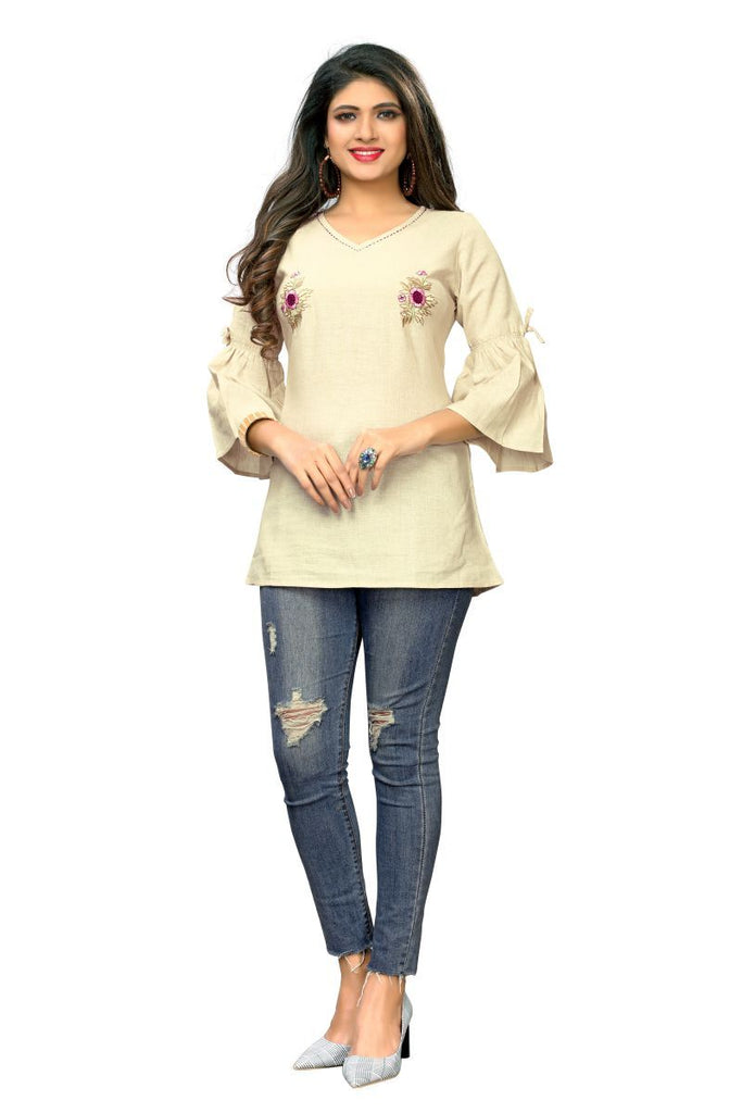 Buy Beige  Color Flax Cotton Stitched Kurti