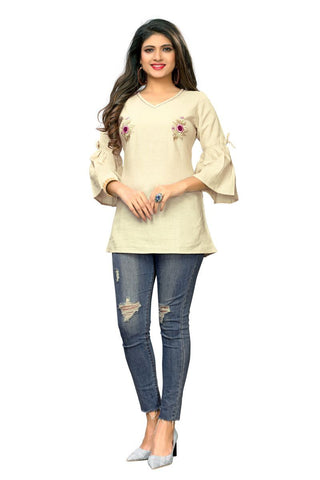Beige  Color Flax Cotton Stitched Kurti  - VF-KU-240