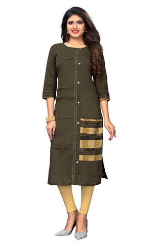 Brown Color Slub Cotton Stitched Kurti  - VF-KU-245