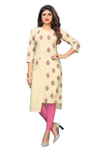 Cream Color Flax Cotton Stitched Kurti  - VF-KU-248