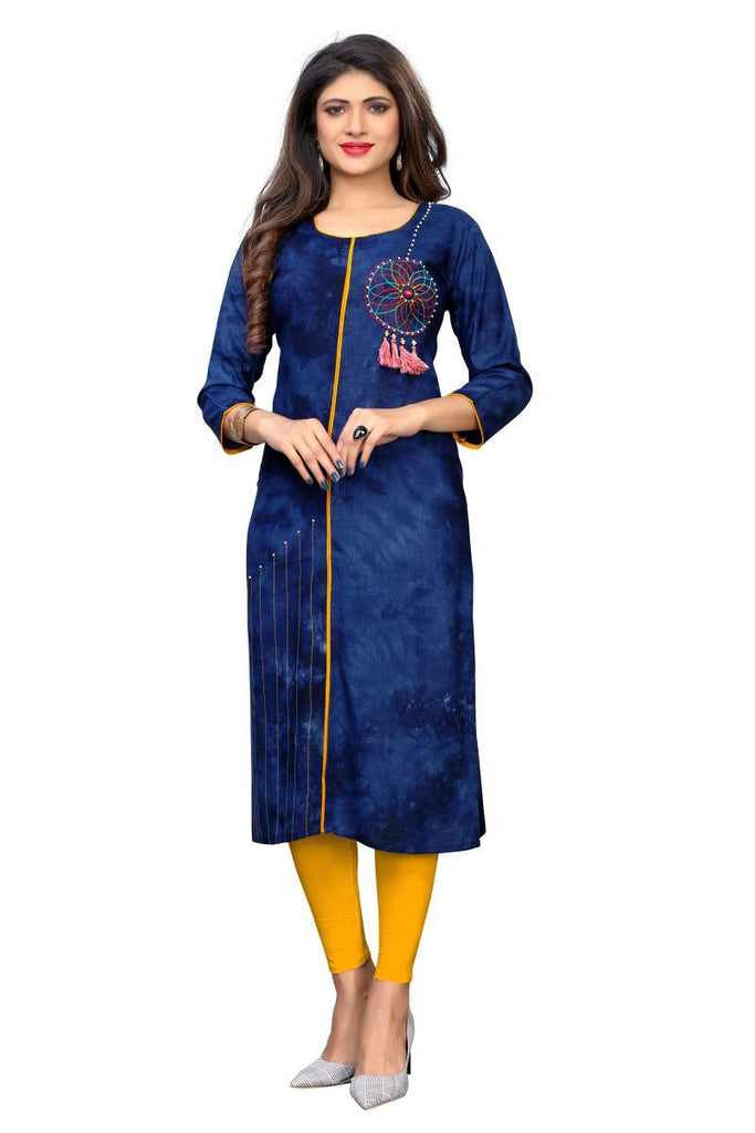 Buy Blue Color Rayon Stitched Kurti