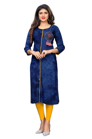 Blue Color Rayon Stitched Kurti  - VF-KU-249