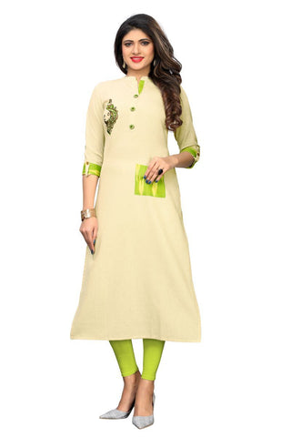 Cream Color Flax Cotton Stitched Kurti  - VF-KU-251
