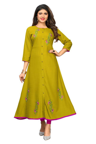 Lime Green Color Slub Cotton Stitched Kurti  - VF-KU-252