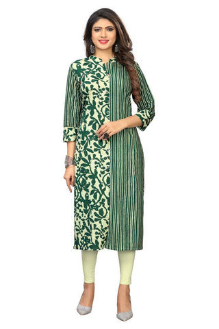 Green Color Cotton Stitched Kurti  - VF-KU-253