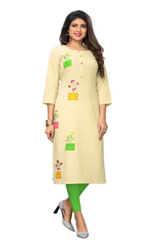 Cream Color Flax Cotton Stitched Kurti  - VF-KU-254