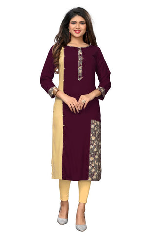 Maroon Color Rayon Stitched Kurti  - VF-KU-256