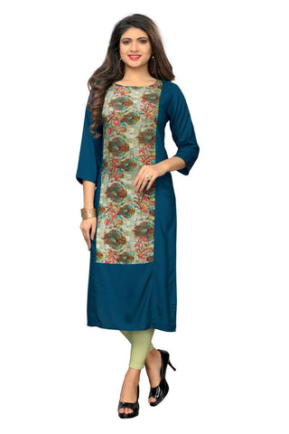 Rama Color Rayon Stitched Kurti  - VF-KU-259