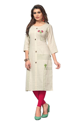 OffWhite Color Flex Cotton Stitched Kurti - VF-KU-281
