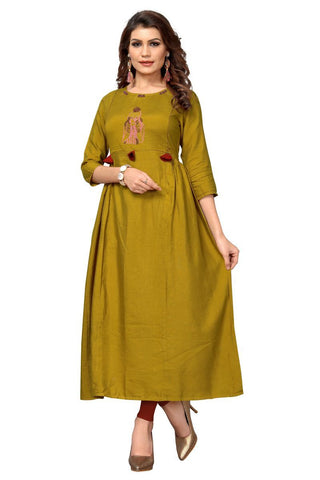 Mustard Yellow Color Cotton Stitched Kurti - VF-KU-282