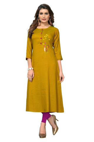 Mustard Yellow Color Two Tone Rayon Stitched Kurti - VF-KU-283