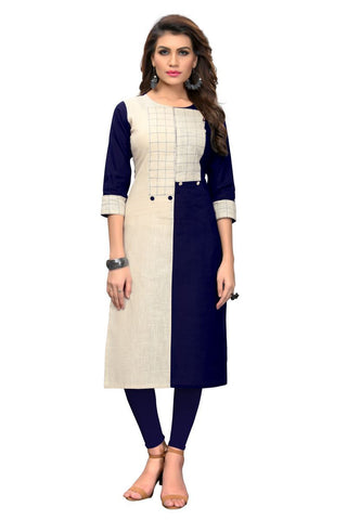 Navy Blue and Cream Color Cotton Stitched Kurti - VF-KU-285