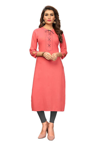 Peach Color Slub Rayon Stitched Kurti - VF-KU-288