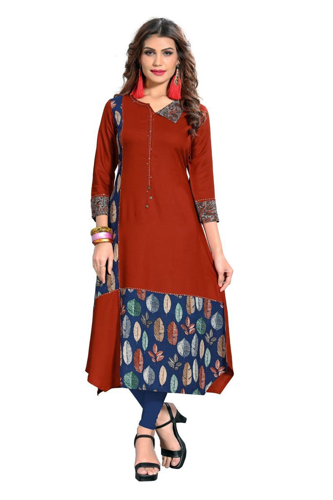 Buy Light Brown Color Rayon Stitched Kurti