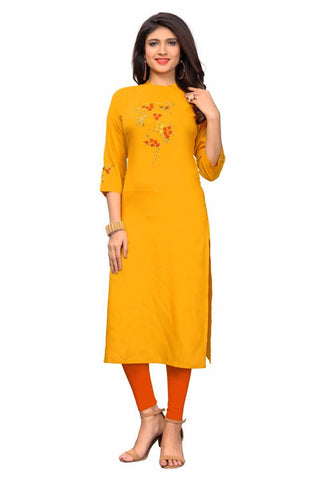 Yellow Color Rayon Stitched Kurti - VF-KU-296