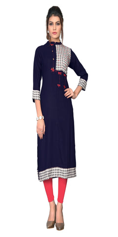 Navy Blue Color Hand work Rayon Kurti - VF-KU-308