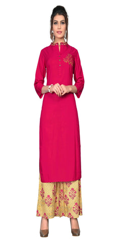 Pink And Yellow Color Embroidered Printed Rayon Kurta With Palazzo - VF-KU-309