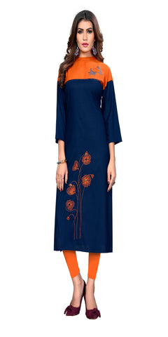Blue And Orange Color Embroidered Rayon Kurti - VF-KU-311