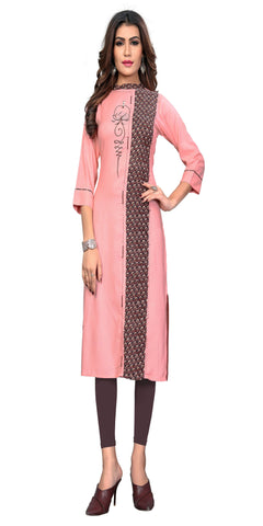 Light Peach Color Embroidered Rayon Kurti - VF-KU-312