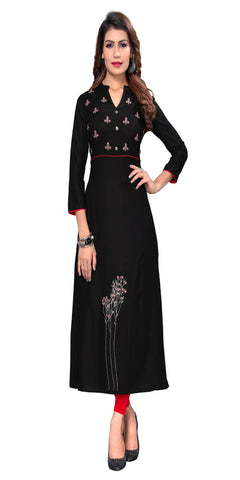 Black Color Embroidered Rayon Kurti - VF-KU-313