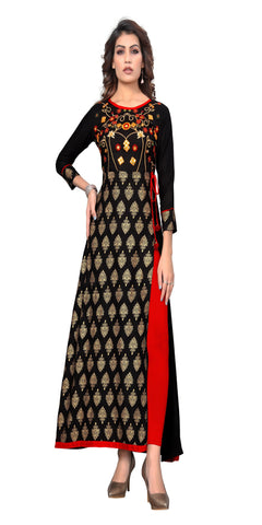 Black Color Embroidered Rayon Kurti - VF-KU-314
