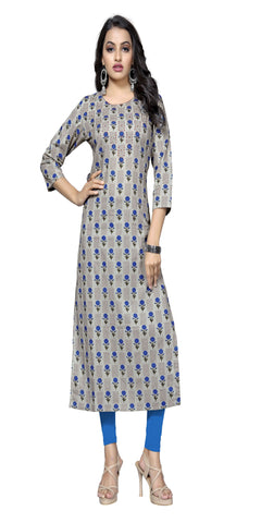 Blue Color Hand WorK Cotton Kurti - VF-KU-318