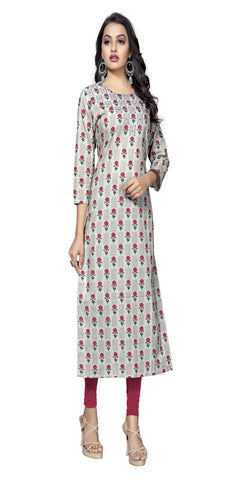 Red Color Hand WorK Cotton Kurti - VF-KU-319