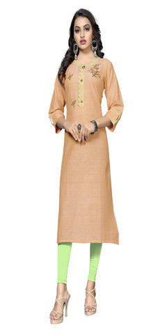 Light Orange Color Hand WorK Cotton Kurti - VF-KU-320