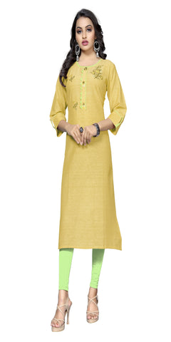 Yellow Color Hand WorK Cotton Kurti - VF-KU-321