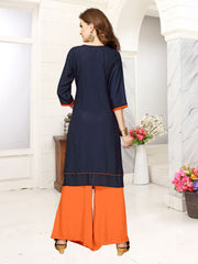 Blue Color Viscose Rayon Stitched Kurti - VF-KU-49