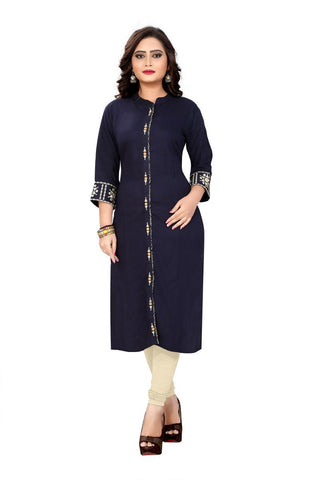 Blue Color Viscose Rayon Stitched Kurti - VF-KU-79