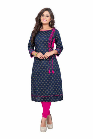Blue Color Cotton Stitched Kurti - VF-KU-84
