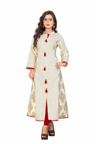 White Color Cotton Stitched Kurti - VF-KU-86