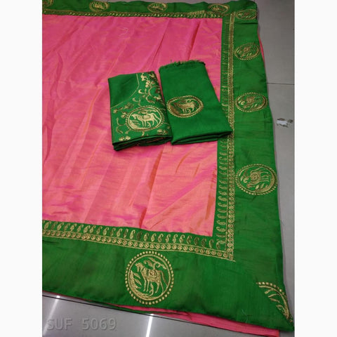 Baby Pink Color Tussar Silk Saree - VF-Pink