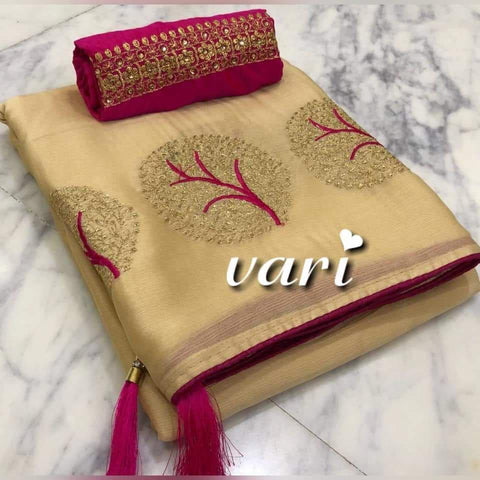 Chiku Color Moss Chiffon Saree - VF-TREE-1