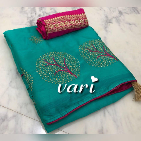 Rama Color Moss Chiffon Saree - VF-TREE-5