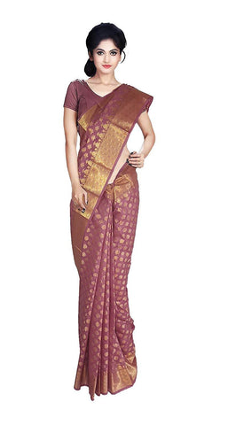 VFCOLLECTIONS Maroon Color Women's Banaras Pattu Silk Butta All-over with Blouse Piece  - VFCollections101A