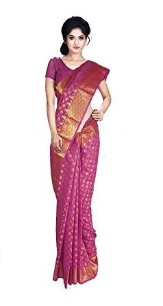 VFCOLLECTIONS Pink Color Banaras Pattu Silk Butta All-Over With Blouse Piece  - VFCollections101